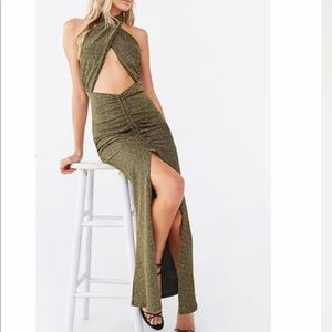 Gorgeous metallic Shimmer maxi halter dress